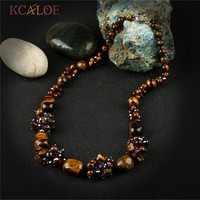 KCALOE Vintage Collana Chokers Necklaces For Women Knotted Tiger Eye Stones Natural Stone Austrian Crystal Statement Necklace
