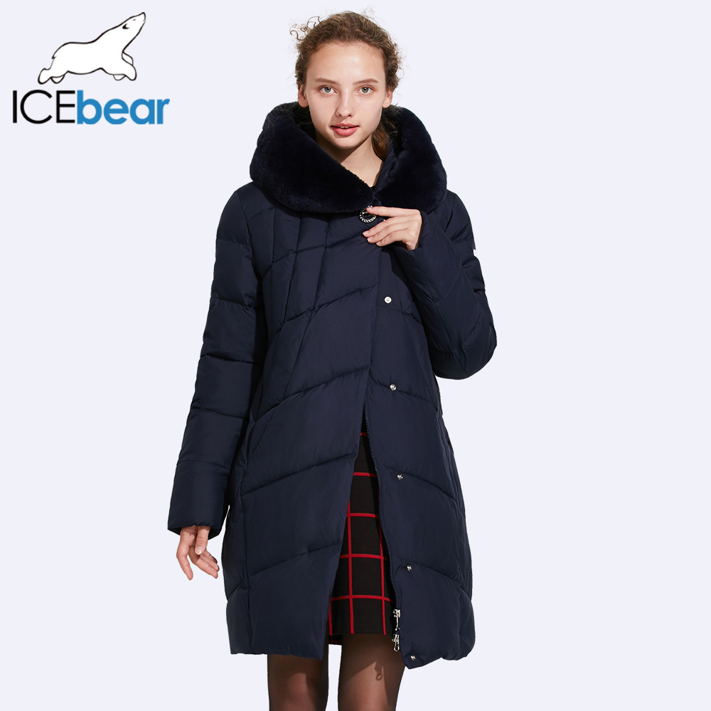 ICEbear 2017 Smooth Fur Collar Winter Cotton Jacket With High Quality Buckles Large Quilting Line Windproof Parka 17G6159