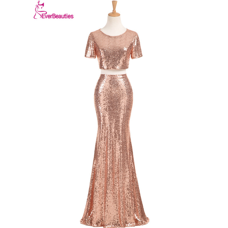 Two Pieces Mermaid Bridesmaid Dresses Long 2018 Sequins With Short Sleeves Wedding Party Dresses Robe Demoiselle D'honneur