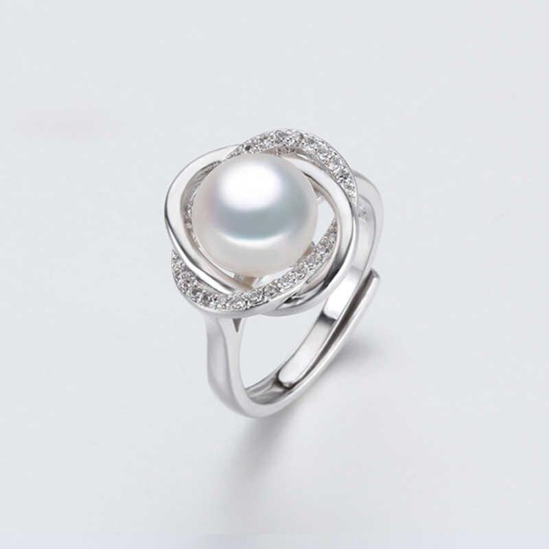 Ngọc trai tự nhiên trắng nhẫn đối với phụ nữ, nước ngọt ngọc trai vòng sterling bạc 925 mẹ của trang sức ngọc trai vợ quà tặng sinh nhật
