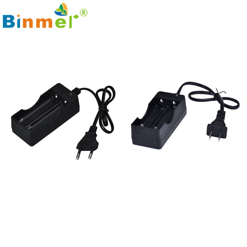 2016 Hot Sale Black 2 Slots AC 110V 220V Dual Charger For 18650 3 7V Rechargeable