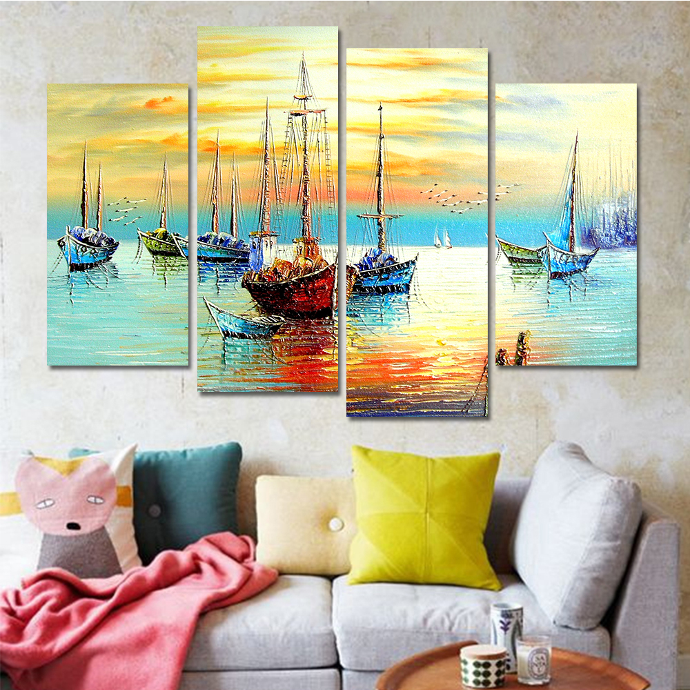 Drop shipping Sail Boat Paintings Cuadros Decoracion Wall Art Canvas ...