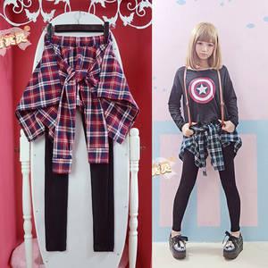 Cute Girl Women Plaid Patchwork Leggings Stretch Pants 75d630451
