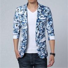 Camouflage  Mens Blazer Jacket  Single Button Office Casual Men Blazer Three Quarter Sleeve Blazer Masculino