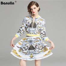 Banulin Newest Fashion Runway 2018 2 Pieces Suit Set Womens Long Sleeve Zipper Jacket Coat Floral Printed Pleated Skirt