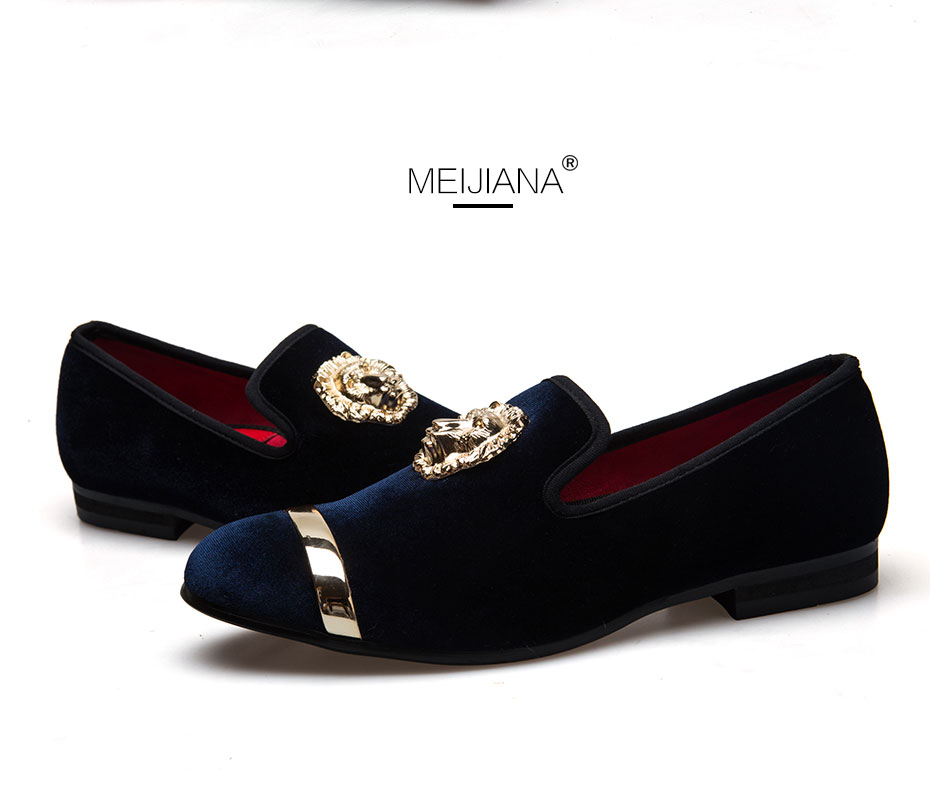 HTB1VahoaA.HL1JjSZFuq6x8dXXaw - New Fashion Gold Top and Metal Toe Men Velvet Dress shoes italian mens dress shoes Handmade Loafers
