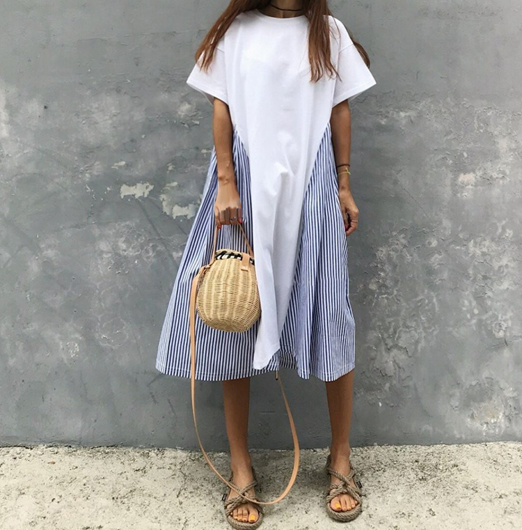 2019 Summer Cotton Casual Dress New Korean Stitched Striped Loose Short-sleeved Dress  Patchwork  A-Line  O-Neck Dress