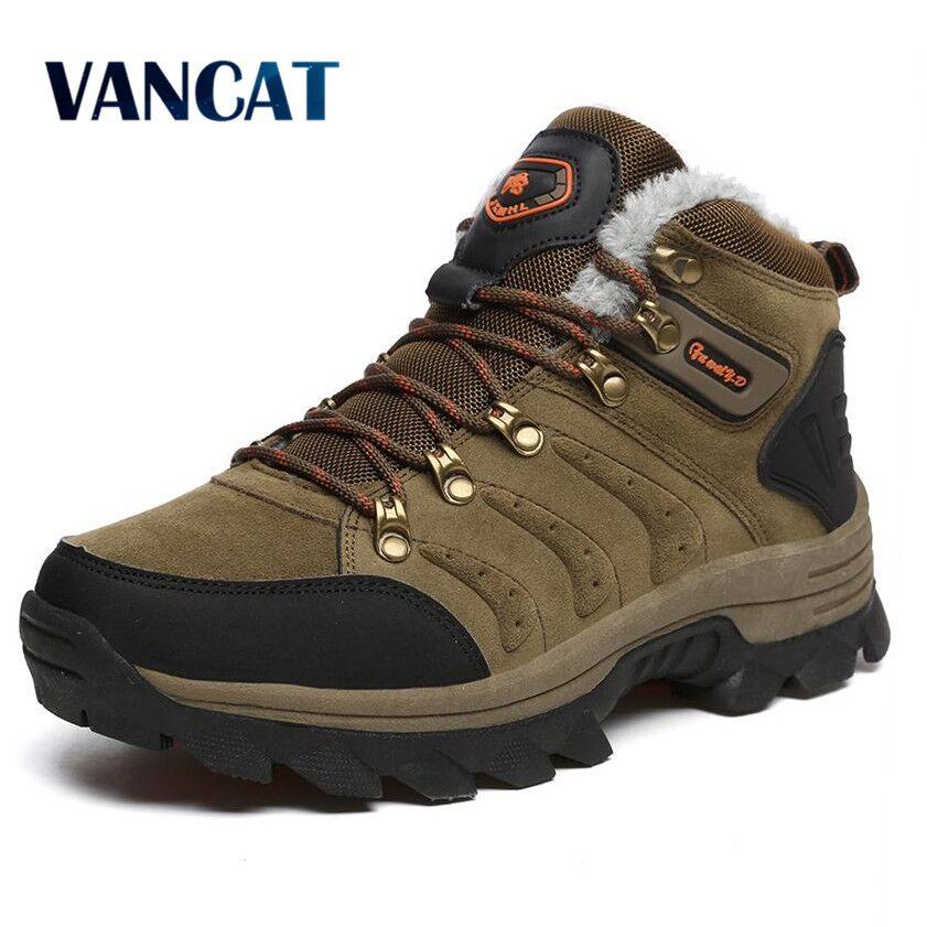 VANCAT tamaño grande nuevos hombres botas para hombres botas de nieve de invierno piel caliente y Plush Lace Up alto Top moda hombres zapatos zapatillas Botas
