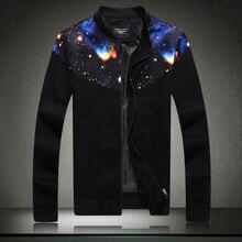 Veste 2015 Erkek Mont Autumn Winter Coat Mens Star Sky Printed Jackets Trendy Brand Men's Sportswear Slim Fit Veste Homme Club