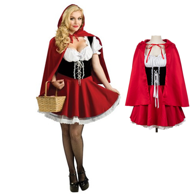 S-6XL Adult Women Little Red Riding Hood Costumes Anime Cosplay Fantasy Game Uniforms Halloween Party Fancy Dress