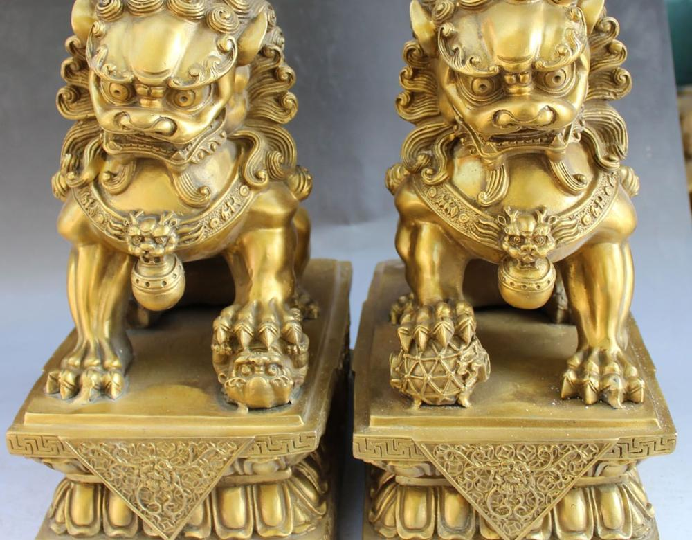 13 Chinese Fengshui Bronze Guardian Foo Fu Dog Phylactery Door Lion Pair Statue