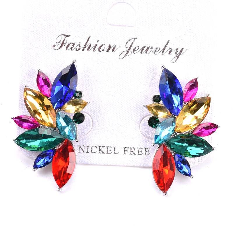 Colorful Big Flower Crystal Gem Earrings