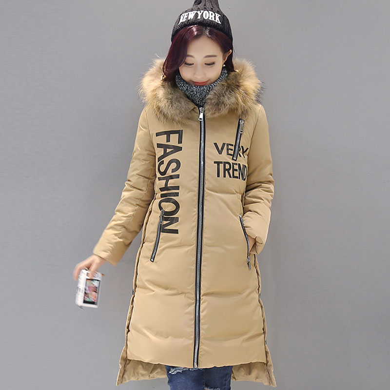 2017 Brand Winter Women Coat High Quality Fashion Long Section Raccoon Fur Hooded Cotton Padded Parka Women Thicken Warm Jacket 2016 brand new fashion down jacket women long thicken plus size cotton padded coat big faux fur collar hooded women parka kp0791
