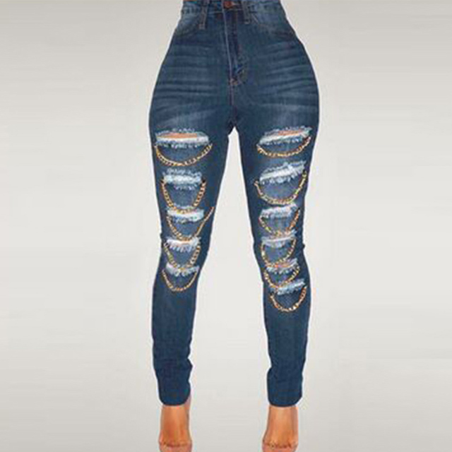 29714cc1d96 Fashionable Skinny Women s Torn Jeans Ladies Sexy Destroyed Ripped  Distressed Chain Denim Pants Boyfriend Jeans Plus Size M-XXL