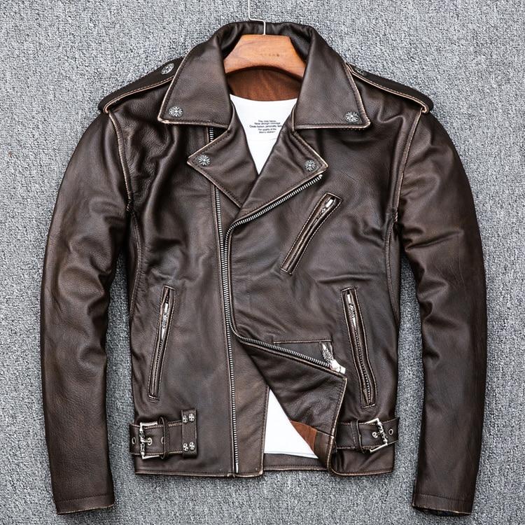 HTB1VaiIKb1YBuNjSszhq6AUsFXaO MAPLESTEED Brown Distressed Motorcycle Jacket Men 100% Calf Skin Classic Slim Leather Jacket Man Moto Biker Coat Winter 5XL M190