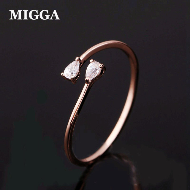 High Quality Cute Small Cubic Zircon Ring for Women Adjustable Ring Bague Rose G