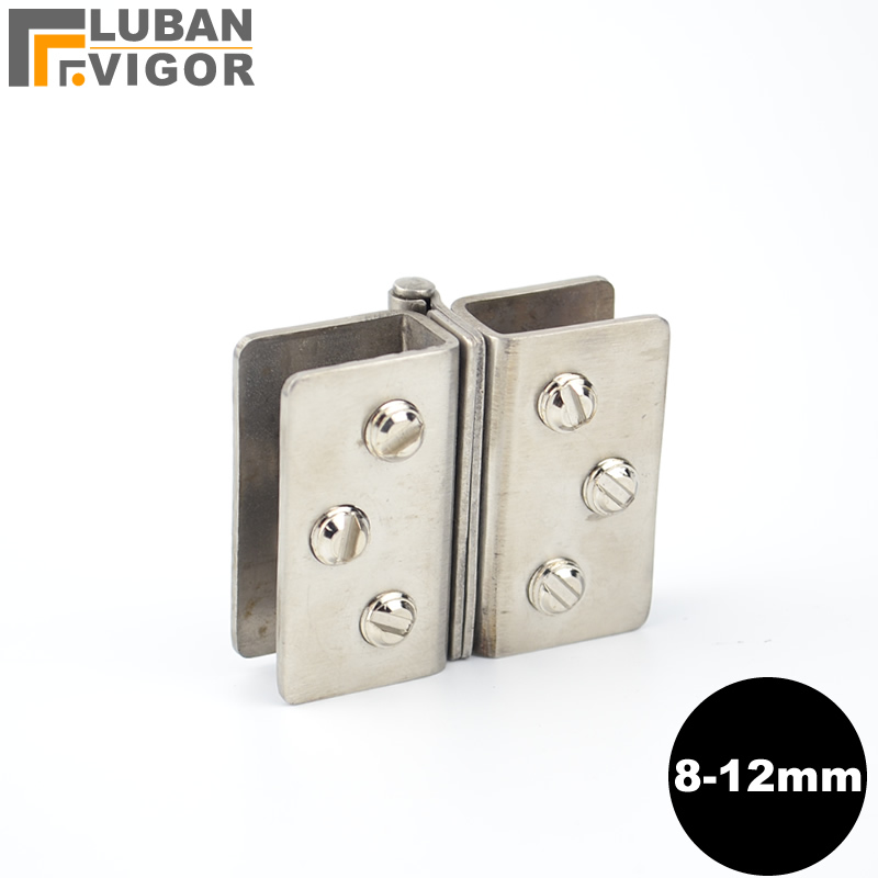 Stainless Steel Glass Door Hinge / Glass Clamp, No Holes, Double Glass Folder , Hardware ,for Glass Thickness 8-12mm