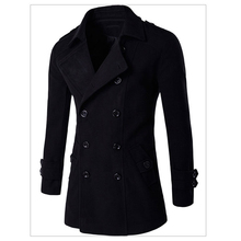 High Quality 2017 Top Sale Long Wool Coat Mens Wool & Blends Cool Winter Men Overcoats Slim Fit Winter Warm Wool Overcoats C105(China)