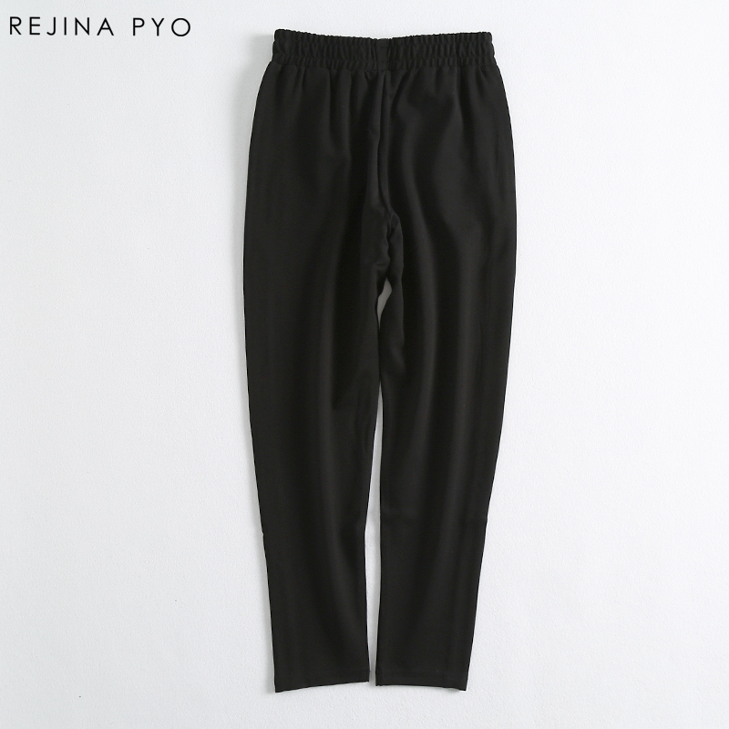 Rejina Pyo Women White Side Striped Pencil Pant Female Casual Slim Ankle-Length Trousers Pant High Elastic Waist Summer New