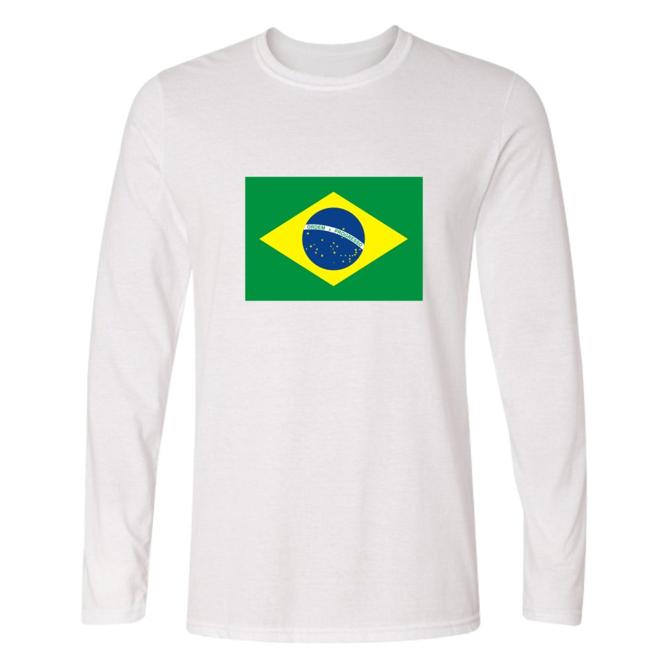 8ef5411c New Brazil Flag Green Yellow Blue T Shirt Long Sleeve Cotton t-shirt  Streewear New Design t-shirt Autumn New Tees