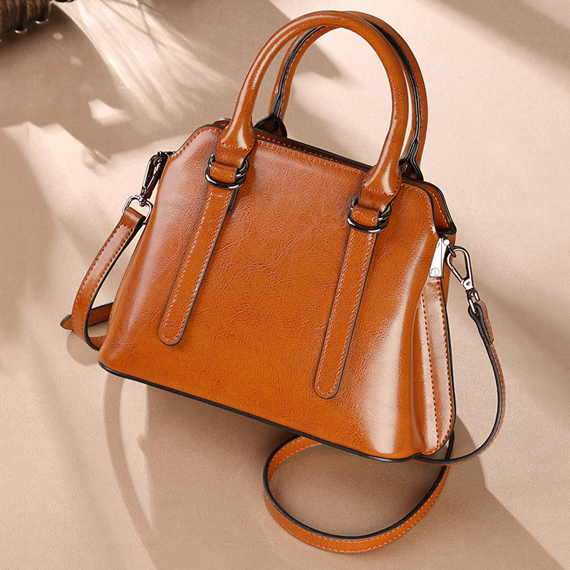 2018 New Fashion Elegant Woman Bag Genuine Leather Oil Wax Cowhide Handbag Vintage Crossbody Brief Leisure Party Shoulder Bags 2015 new vintage oil wax genuine leather men handbag leisure out door travel hiking camp sport gym laptop shoulder bags
