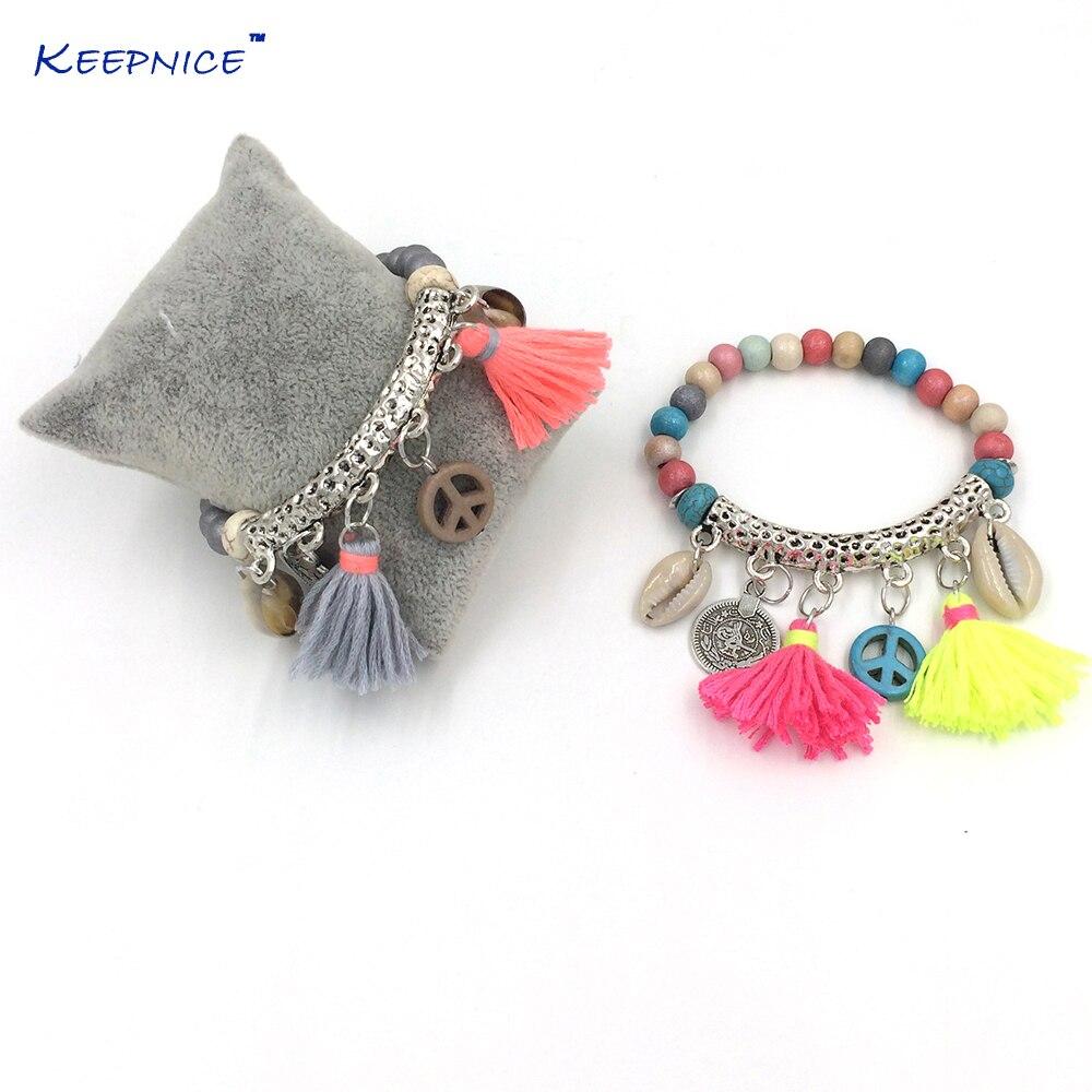 Bohemia Jewelry Friendship Bracelet Cotton Tassel Peace Charm Bracelet Rosary Beads Bangle Charm Seed Beads Bracelets