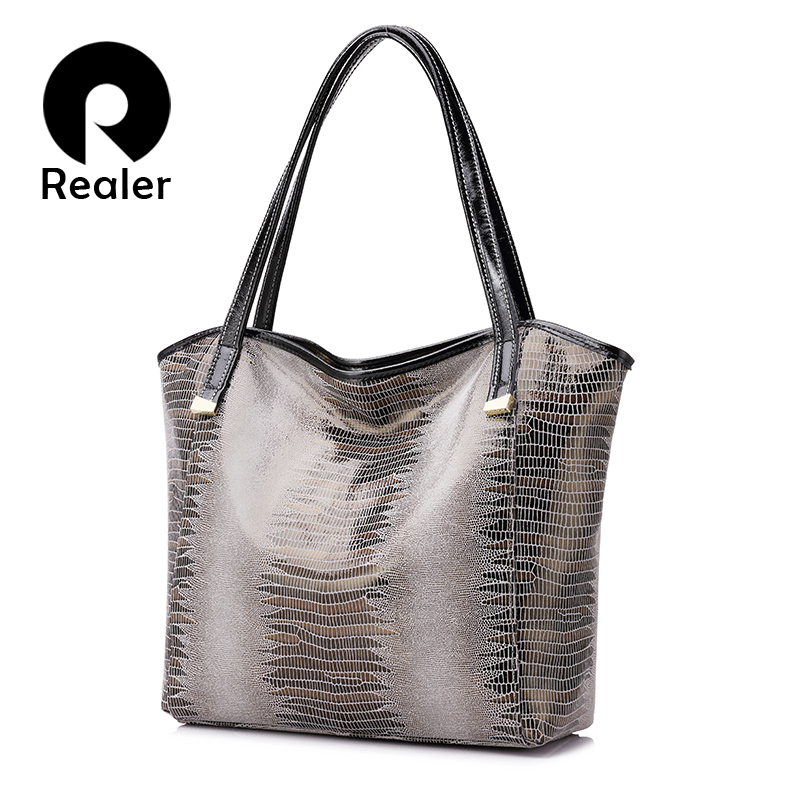 REALER brand genuine leather bag women serpentine shoulder bag ladies high quality handbags female fashion tote bags smiley sunshine brand serpentine leather women handbags hobo tote bag female snake tassel big shoulder bags ladies crossobdy bag