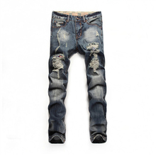 Новое джинсы мужчин прямо вымотать мода узкие брюки свободного покроя личности тонкий мужские джинсы простой среднего длинные брюки