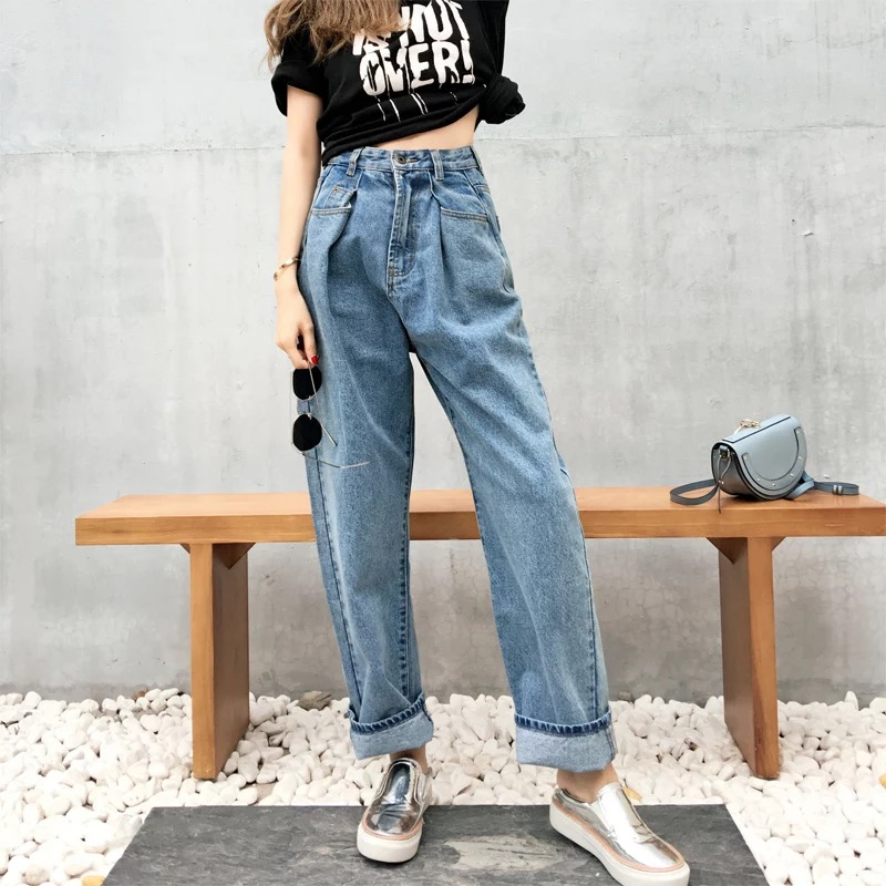 MingJieBiHuo Fashion women Korean new arrival Casual loose wild   jeans   high waist pants wide leg simple   jeans   with zipper skinny