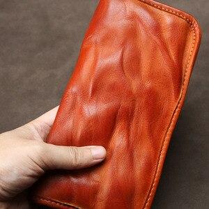 Image 3 - Aetoo Leer Mannen Lange Rits Retro Portemonnee Handgemaakte Oude Lederen Portemonnee Jeugd Grote Capaciteit Multi Card Portemonnee