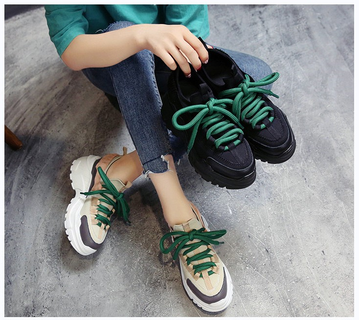 sneakers new Women's casual shoes Platform wedge Breathable walking shoes Lace-Up Fashion Increasing Height sneakers