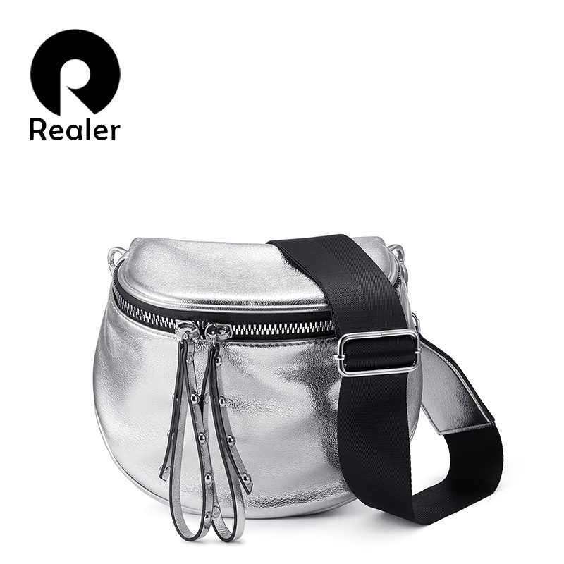 70598aba172f2 REALER crossbody bags for women 2019 summer metallic silver shoulder bag  female PU leather messenger bag