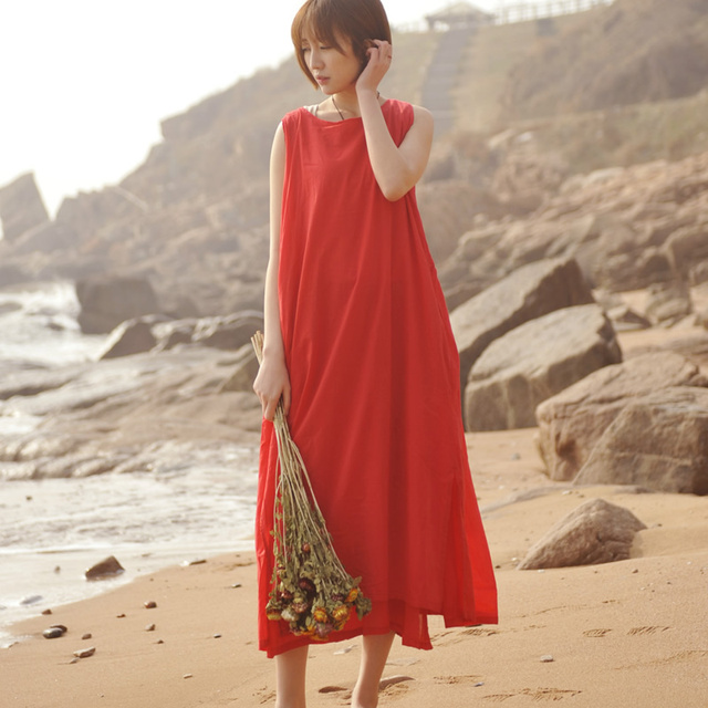 8737152b1a9b ORIGOODS Sleeveless Long Tank Dress Women Solid White Red Purple Black  Summer Tank Dress Casual Cotton