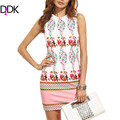 DIDK New Fashion Womens Elegant Short Dresses Summer Ladies Multicolor Floral Print Round Neck Sleeveless Bodycon Dress