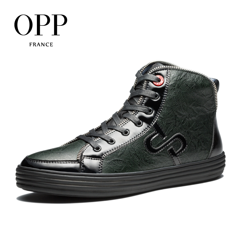 OPP High Top Men boots 2017 Genuine Leather Men Shoes Winter Boots men Zip Metal Style Shoes Ankle Boots for men перчатки для рукопашного боя green hill цвет черный белый размер xl pg 2047