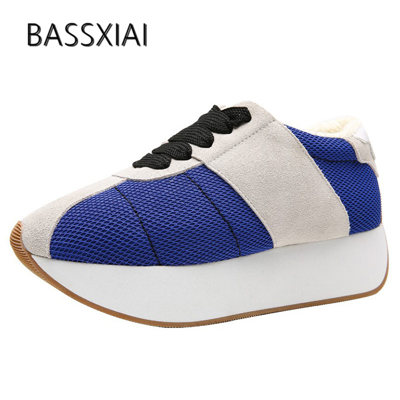 2019 Newest Breathable Mesh Sneakers Women Round Toe Mixed Color Patchwork Lace Up Thick Bottom Platform