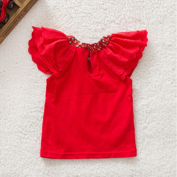 Floral Collar T-shirts Baby Girls Short Sleeve Tops Cute Blouse Shirts 0-2Y A28