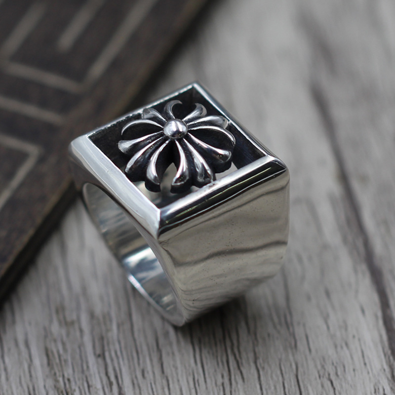 Thai Silver 925 Personalized Domineering Hollow Cross Ring Ring men