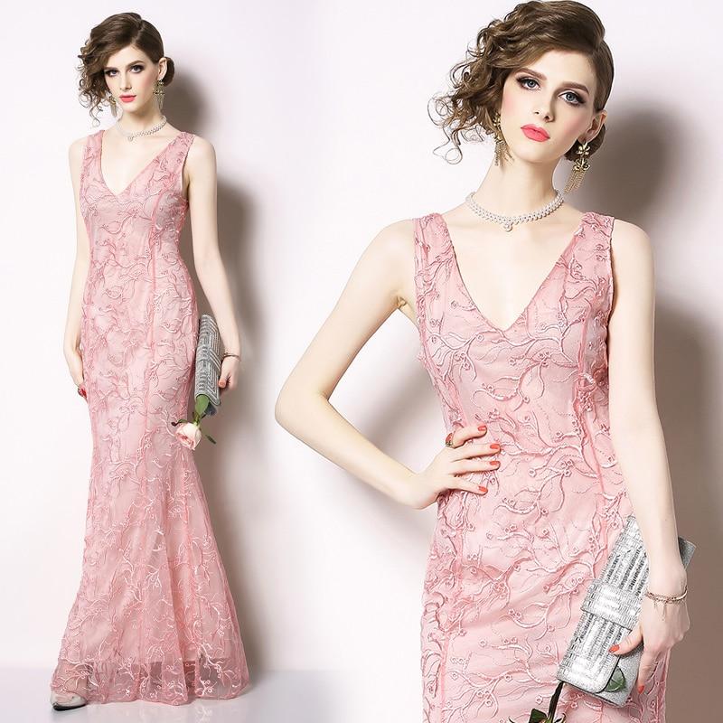 Rose Sexy fête longue robe femmes col en v dos nu broderie taille haute Vintage Maxi maille dentelle robe élégante queue de poisson Vestidos