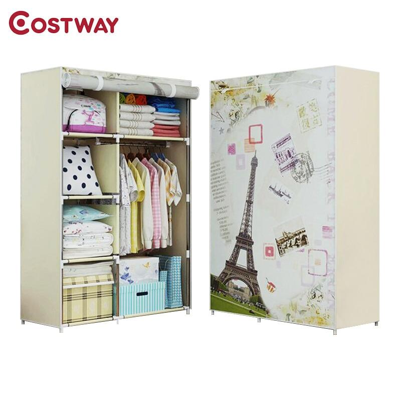 COSTWAY Bedroom Print Non-woven Wardrobes Cloth Storage Saving Space Locker Closet Sundries Dustproof Storage Cabinet W0102