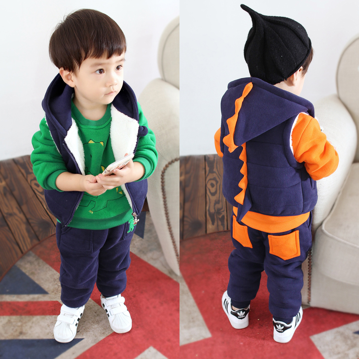 2018 winter boys girls 3 pieces sets Small children wear sportswear +Cotton pants+Cotton vest baby Cashmere thickening clothes free shipping 2017 winter thickening children s suits baby boys and girls pentagram smiley face velvet 2pcs sets