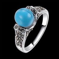Creative Retro Classic Women Rings Blue Stone Platinum Color Lady Jewelry Personality Wedding Bands Fashion Accessories