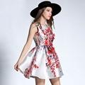 2017 spring and summer dress women print sleeveless beading ball gown dresses ladies Fashion street dress