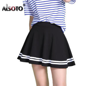 ALSOTO Summer Women High Waist Pleated Skirt black Mini