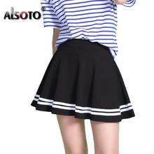 ALSOTO Fashion Summer style kobiety spódnica jednolity kolor sexy Wysoka talia plisowana spódnica czarny koreański wersja Mini-line SAIA tanie tanio Trapezowa Imperium Powyżej kolana mini W ALSOTO Poliester 55328410690755 Brak Stałe Casual Moda