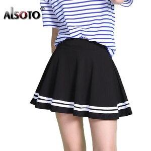 Image 1 - Mode Sommer Stil Frauen Rock Einfarbig Sexy Hohe Taille Midi Plissee Röcke Schwarz Schule Koreanische Version Mini A line Saia
