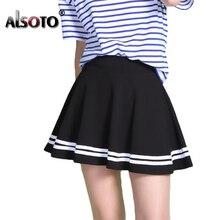 ファッション夏のスタイルの女性のセクシーなハイウエストミディプリーツスカート黒学校韓国バージョンミニaラインサイア
