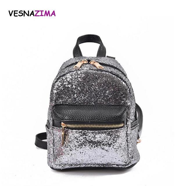 79cf0dbcbb720 Mini mochilas mujer pu Mochila de cuero para adolescentes bolsa de viaje  moda simple sólido Lentejuelas
