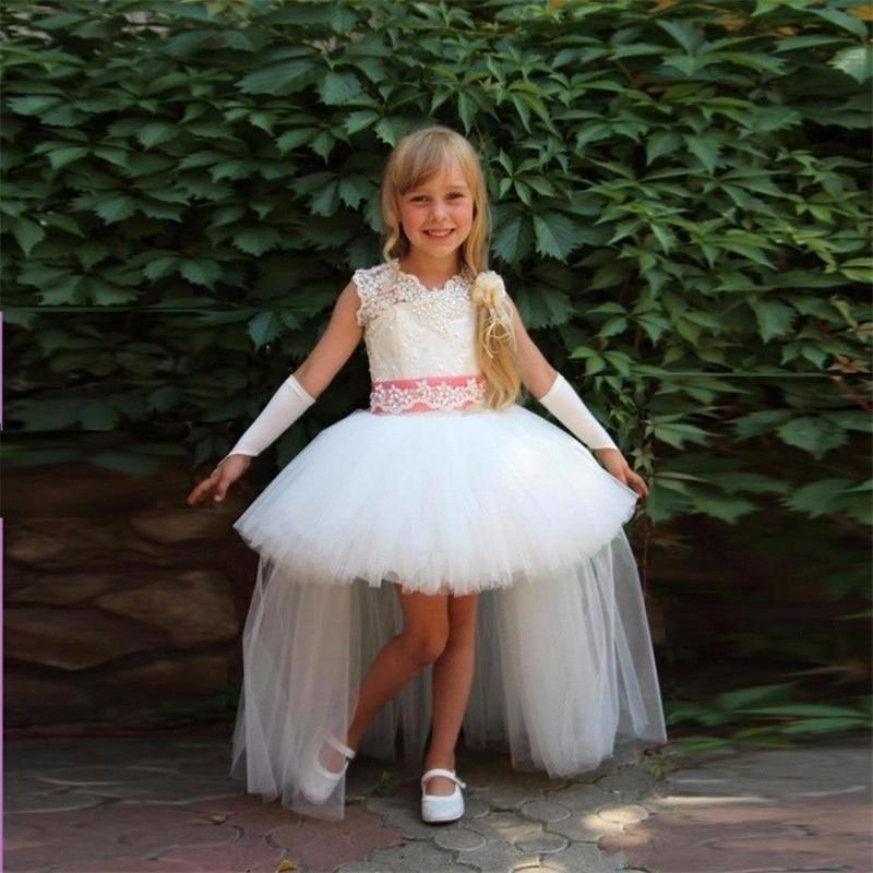 New Flower Girl Dresses for Wedding Little Girls Kids/Children Dress High Low Tulle First Communion Ball Party Pageant Dress