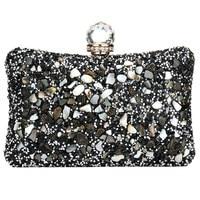 Silver Diamonds Box Bag Evening Clutch Purse Women Fashion Mini Chain Shoulder Bags Female Elegant Wedding Party Clutches Pouch